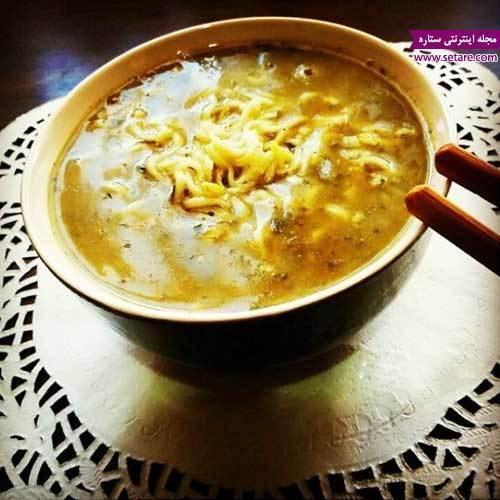 طرز تهیه سوپ نودل چینی با مرغ و سبزیجات